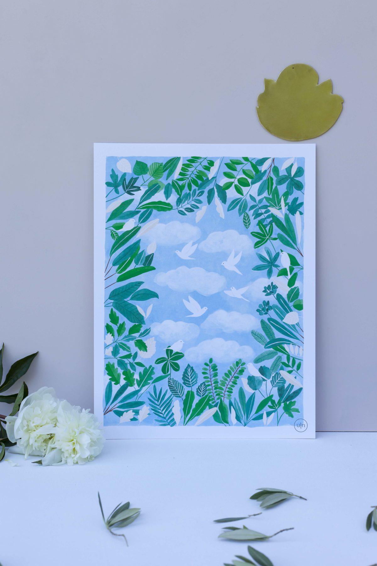 Illustration vue du ciel - un nid dans les nuages